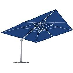 paramondo Parapenda Parasol à mât excentré  Parasol déporté pour Jardin  4x3m (rectangulaire/Bleu) / Compris l'armature et Le Pied forant(Blanc)