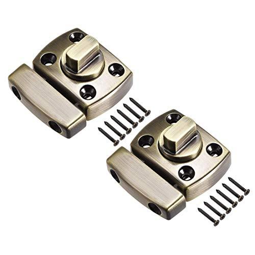 ZCHXD Rotate Bolt Latch, 1-inch Zinc Alloy Security Door Slide Lock, 2 Pcs (Bronze) -