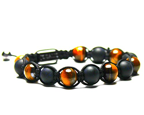Jocalio Lion&Son Tiger Armband Tigerauge Buddha Fashion Perlen Herren Edelstein Brown Vintage Mode-schmuck Beads (Neue Label Brown Herren)