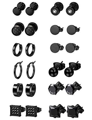 Milacolato 6-12Pairs Edelstahl Ohrringe für Männer CZ Bolzenohrrings Tiny Ball Ohrstecker Knorpel Ohrringe Endlose Creolen für Männer Jungen