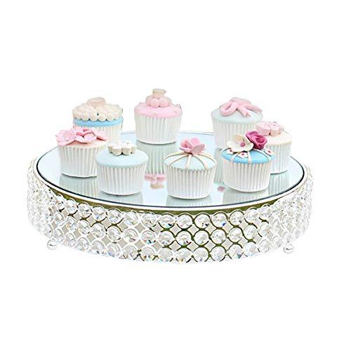 YJIUJIU Metall Crystal Cake Stand, Spiegel Top Runde Cupcake Stand Runde Podest Silber Finish mit Perlen Dessert Display Tray für Hochzeit Geburtstag Party,M - Glas Runden Podest