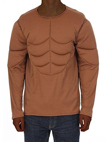 Herren Braun Gepolsterte Muskel Brust Armee Kostüm Karneval Zubehör (Body Kostüm Muskel)