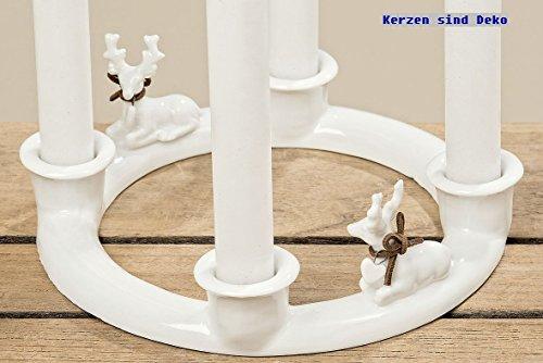 Kerzenhalter Hirsch Rustikal Alpen Tisch Deko Design für 4 Kerzen D ca 18 cm