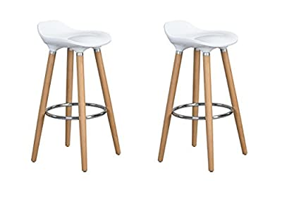 Set of 2 Bar Chairs White with Footrest Wooden Frame - Jasmine Bar Stools - inexpensive UK light shop.