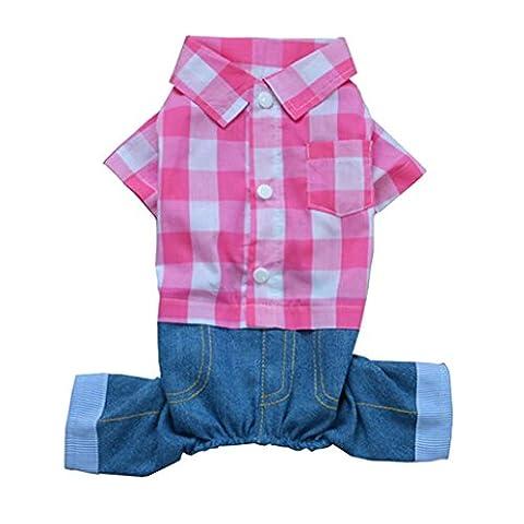 Chiens Vêtements Costume rose et blanc Plaid Motif Pet Apparel pour petite taill