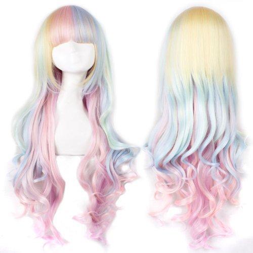 Anogol Hair Cap + Ponytail Wig Pink Cosplay Wig Lolita Wig anangel01622p 727a137c8d1a