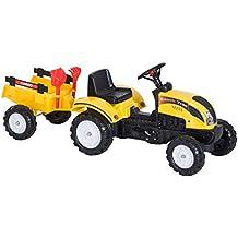 HOMCOM Tractor Pedal con Remolque para Niños 3-6 Años Juguete de Montar Coche de
