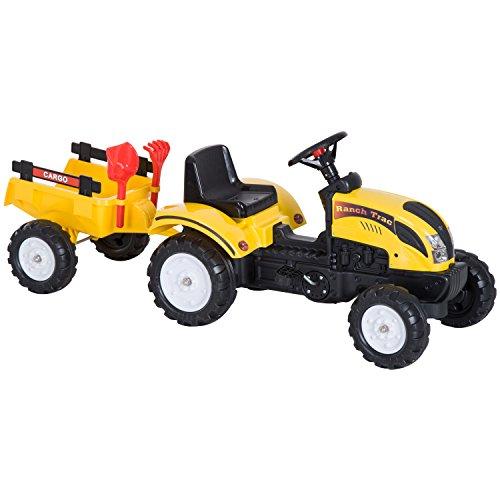 Homcom Tractor Pedal con Remolque para Niños 3-6 Años...