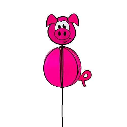HQ Windspiration 100812 - Spinning Ball Piggy, UV-beständiges und wetterfestes Windspiel - Höhe: 110 cm, Ø: 33 cm, inkl. Standstab und Bodenanker -