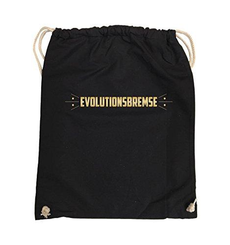 Comedy Bags - EVOLUTIONSBREMSE - Turnbeutel - 37x46cm - Farbe: Schwarz / Silber Schwarz / Gold