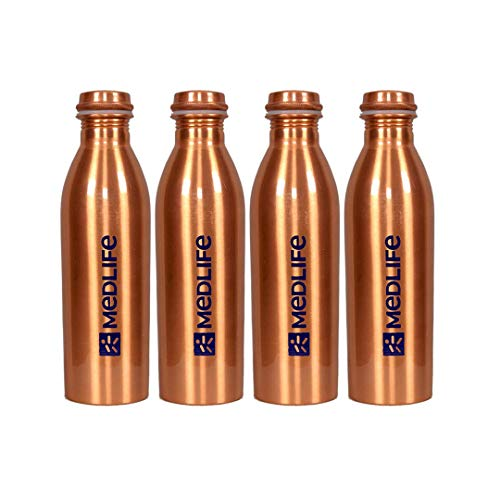 Medlife Pure Copper Water Bottle 1000 ML - (Pack of 4)