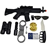 Babytintin Police Toy Play Set Briefcase For 5+ Kids, Police Weapons & Tactics Set For Kids Musical Gun, Binocular With Compass, Handcuff Manacle, Whistle, LED Torch, Police Badge, Toy Knief, I-Card, Sunglasses