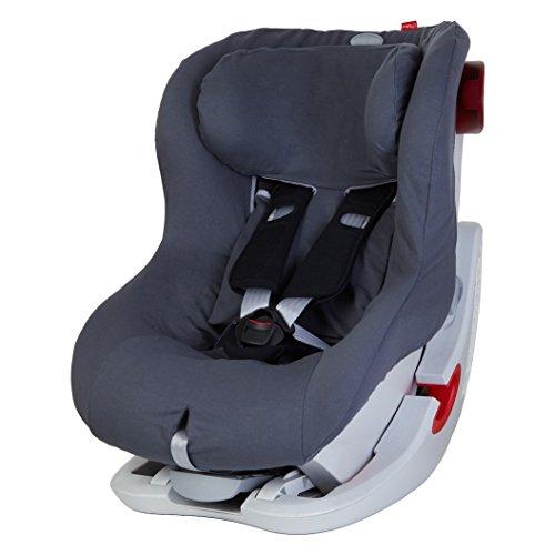 ByBoom® - Sommerbezug Baumwolle für Kinder-Autositz, universal für z.B. Britax Römer KING II ATS, LS, KING PLUS, SAFEFIX PLUS/PLUS TT, Farbe:Grau