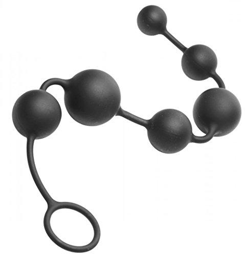 Silikon Anal Kette (6 Kugeln - verschiedene Größen) - 36 cm Lang Schwarz Master Series