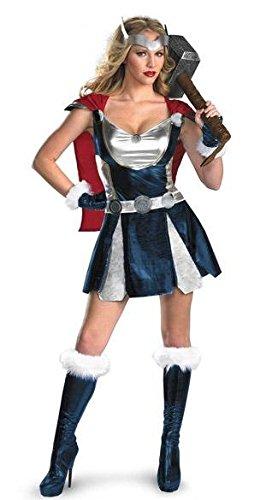 3 Stück Sexy Superheld Thor Viking Kostüm Kleid mit Cape, Hülsen, Gürtel Größe 36-40 (Eine Thor Kostüme)
