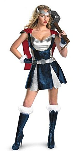 3 Stück Sexy Superheld Thor Viking Kostüm Kleid mit Cape, Hülsen, Gürtel Größe (Viking Kostüm Kostüm)