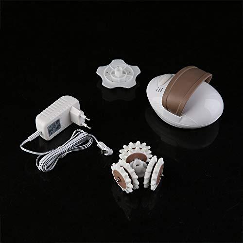 Rodillo de masaje de amasamiento facial mini profesional 3D Sistema de control anticelulítico eléctrico Masajeador Cuerpo más delgado - Blanco y café