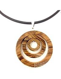 Collar colgante de madera de olivo natural - hecho a mano - joyería de madera - joyería de madera de olivo - joyería de madera de olivo