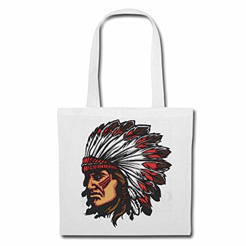 sac à bandoulière 'INDIAN AVEC CASQUE ET SPRINGS INDIENS Red Chief WESTERN INDIENS' Sac Turnbeutel scolaire en blanc