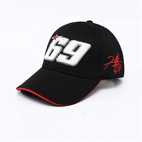 Vinteen Neue Moto GP Motorrad Reitmütze Rennmütze Baseballmütze Rossi VR Nr. 69 Fan F1 Duck Tongue Hat (Color : Black)