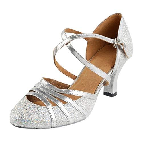 Damen Tanzschuhe,Damen Ballsaal Standard & Latein Tanzschuhe Salsa Tango Walzer Soziale Funkelnde Glitzer Tanzschuhe für Innen-Tanzen - 5cm TWBB Y3 Mesh Sneakers