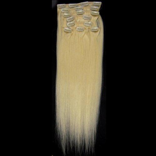 100% cheveux remy Lot de 8 50,8 cm Eau de Javel blond (# 613) droites cheveux clip dans Extension de cheveux Poids : 100 g