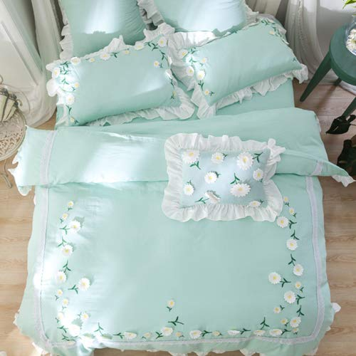 RONGXIE Spring New Luxury Double-Deck Yarn Bedding Set Applique Lace Duvet Cover Set Bed Skirt Pillowcases Queen King Size Applique Seersucker
