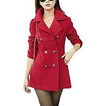 Mujer Abrigo Trench Chaqueta Solapa Manga Larga Doble Botones Coat Jacket