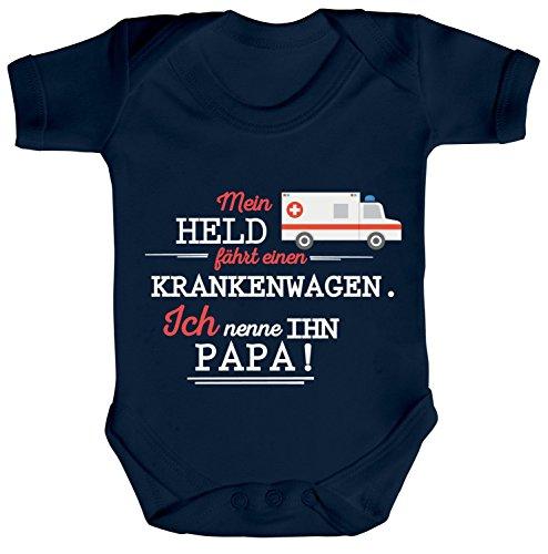Geschenk zum Vatertag Rettungsdienst Strampler Bio Baumwoll Baby Body Kurzarm Jungen Mädchen Papa- Mein Held fährt einen Krankenwagen, Größe: 0-3 Monate,Nautical Navy (Kinder Assistenten Outfit)
