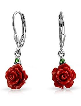 Bling Jewelry 925 silber rot Harz Rose CZ Ohrringe Leverback Rhodium plattiert