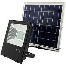 Foco LED Solar Extorior 30W Acabado Negro Luminosidad 1800LM IP66 Impermeable Luz Blanca Fría 6000K Ángulo de Apertura 120º Con Placa Solar y Mando a ...