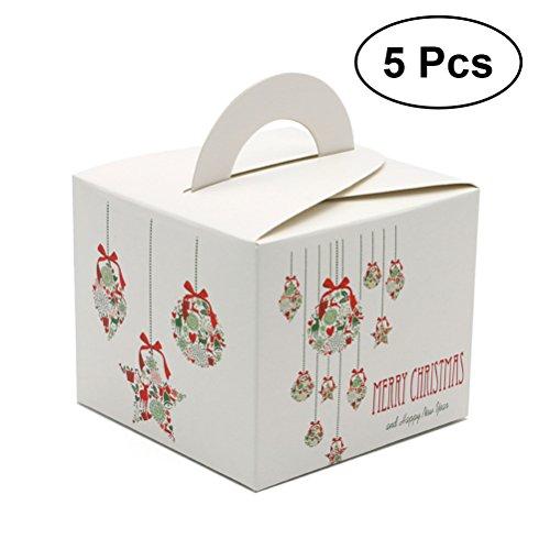 (BESTOYARD 5 stücke Tragbare Weihnachten Süßigkeitskästen Kinder Geschenkbehälter mit Griff Weihnachten Parteibevorzugung)