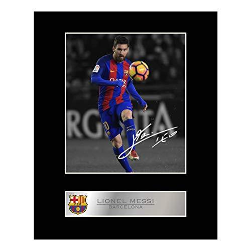 Foto firmada enmarcada Lionel Messi camiseta Barcelona
