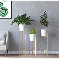 Crafter Metal Plant Stand With Planter Pot, White, 3 Pieces