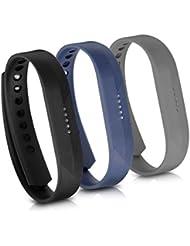 kwmobile 3en1:3x brazalete deportivo de repuesto para Fitbit Flex 2 en negro azul oscuro antracita Dimensiones interiores: approx. 15 - 20 cm - Brazalete de silicona con cierre sin tracker
