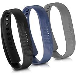 kwmobile 3X Pulsera para Fitbit Flex 2 - Brazalete de [Silicona] en [Negro Azul Oscuro Antracita] sin Fitness Tracker