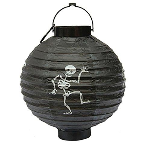 ion aus Papier Kürbis beleuchtet Tragbarer Hängekorb Dekoration Partyzubehör Allerheiligen Halloween schwarz ()