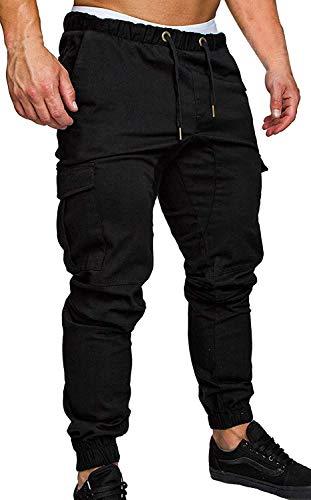 ZOEREA Pantalon Homme Casual Cargo Slim Fit Pantalons Jogging Sport Multi Poches Ceinture élastique Long Pants Noir, 4XL