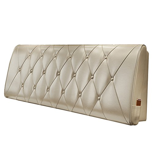 Bettwäsche Kopfteil Bedside Cushion Bett Rückenlehne Cover Sofa Gepolstert Kissen Lendenkissen Leder Abnehmbar, 10 Farben, Multi Größen (Farbe : Champagner, größe : 200x10x60cm)
