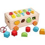 Ss Carrello di Blocchi di Legno, Puzzle di Accatastamento di Giocattoli da Costruzione, Giocattoli Geometrici di Blocchi di Forma Geometrica di Colore di Educazione Precoce dei Bambini