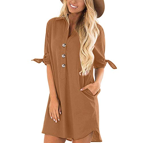 Fenverk Bluse Damen Sommerkleid Elegant Langarmshirt V-Ausschnitt 1/2 Ärmel Einfarbig Shirt Design Kurz Blusenkleid Minikleid Strand Kleider(A Khaki,XXXL)