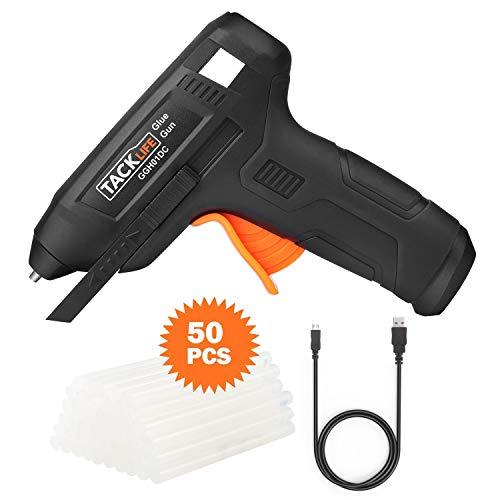 Heißklebepistole,Tacklife GGH01DC Akku Klebepistole 3.6V, Lithium-Batterie 2000mAh, wiederaufladbare Klebepistole mit 50 Stück Klebestifte, USB-Ladekabel, für Handwerker in DIY Projekte