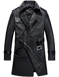 Homme Manteau Printemps Automne Mi Longueur PU Cuir à Manches Longues Veste  Casual Manteaux Parka Outdoor Trench-Coat Veste… d999e32a62f1