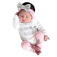 Girls Clothing Sets, SHOBDW Newborn Infant Baby Letter Long Sleeve Romper Jumpsuit + Leg Warmer + Headbands Leggings Outfits (0-6 Months, Worth The Wait)