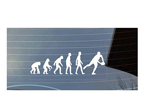 Autoaufkleber Evolution des Menschen, Rugby, Farbe: Weiß (Pfote Drucken Haustier-schüssel)