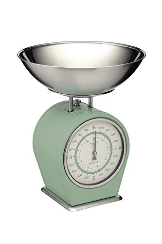 KitchenCraft Living Nostalgia Mechanical Kitchen Scales, 4 kg (8 lbs) - English Sage