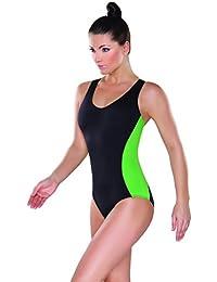 Damen Badeanzug mit Cups Schwimmanzug Sport Badekostüm mit Y-Träger Bademode