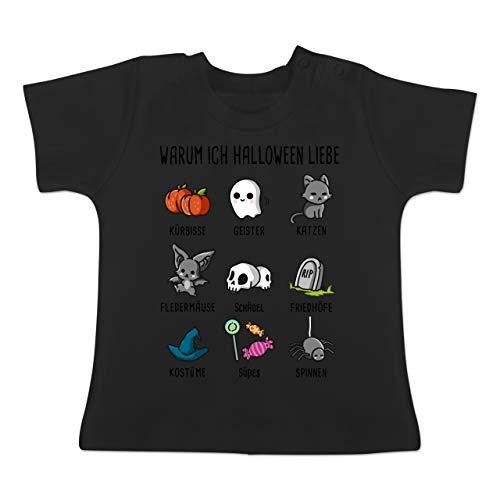 Anlässe Baby - Warum ich Halloween Liebe - 3-6 Monate - Schwarz - BZ02 - Baby T-Shirt Kurzarm