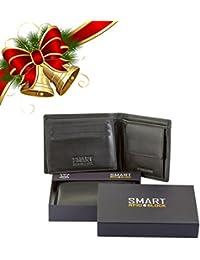 Portefeuilles RFID NFC Blocage Bifold avec poche à monnaie pour hommes - Noir Cuir véritable doux - 100% cartes de crédit à crédit protégées - SMART SM-902PBL