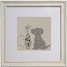"""Sophie Morrell """"Perro y Gato Chocolate y chip), diseño de madera, color blanco"""